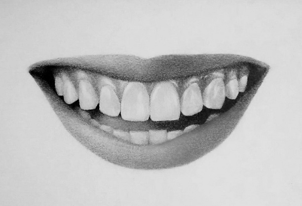 Drawing a smile with teeth
