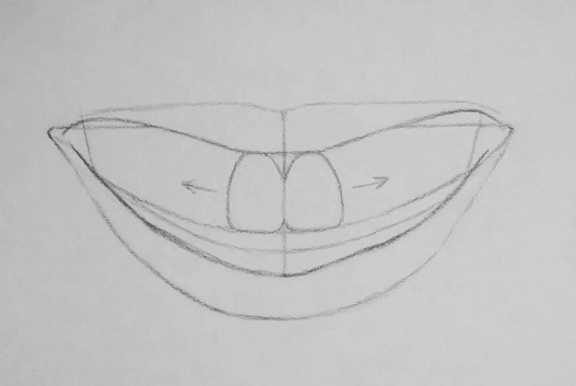 how to draw teeth step 3