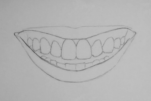 how to draw teeth step 4