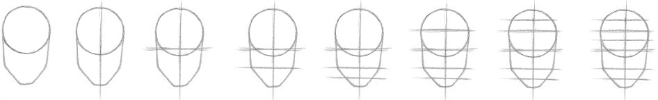 Draw a face step by step small