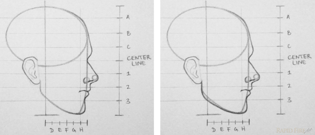 How to draw a face from the side 10 steps rapidfireart rfa draw face frm the side step 10 jaw ccuart