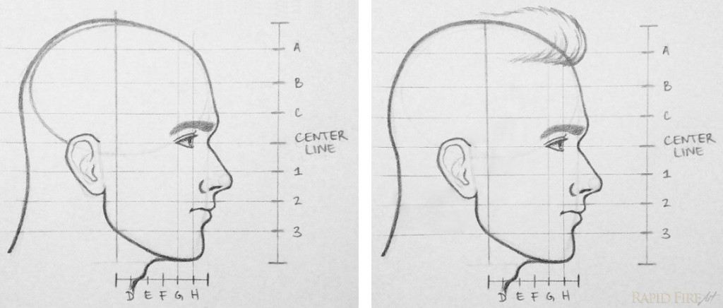 RFA how to draw a face from the side part 13 hair 2