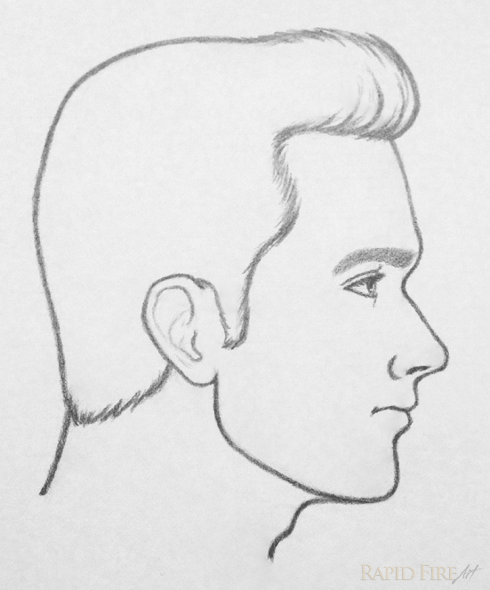 Line Drawing Face Profile : How to draw a face from the side steps rapidfireart