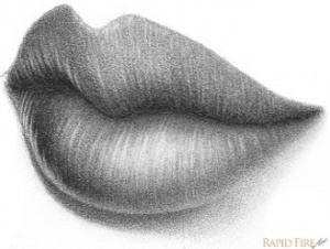 how to draw lips in the 3/4 view