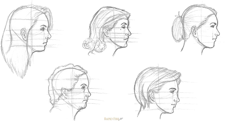 Examples how to draw female faces from the side rfa