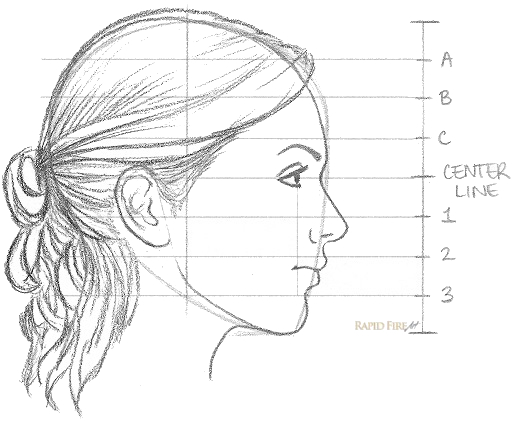 How to draw a female face from the side view step 11