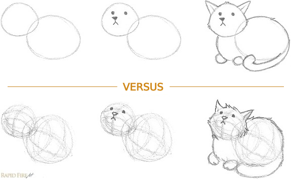 2D vs 3D cat sketch example RFA