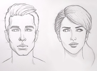 Learn sketching faces tutorials