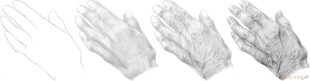How to draw hands - old elderly hands