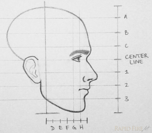 RFA how to draw a face from the side step 12 eyebrow