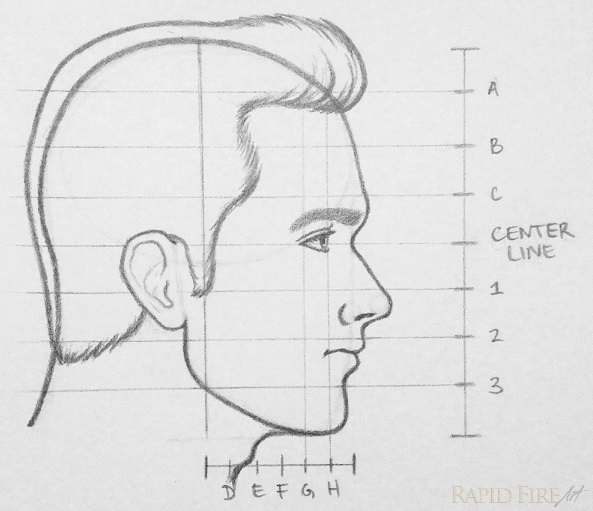 RFA how to draw a face from the side step 14 hair