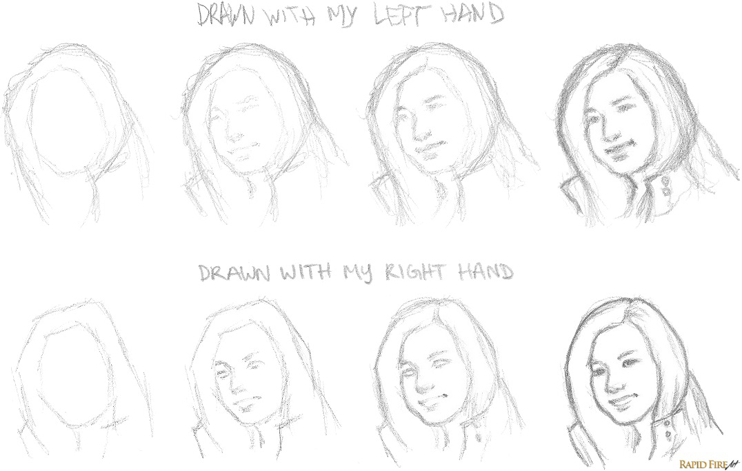 How to Sketch Portraits _ Left Hand vs Right Hand