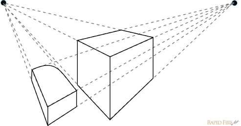 Draw Perspective Lines Along The Edges Of Each Shape Until They Intersect Converge You Should End Up With 2 Vanishing Points