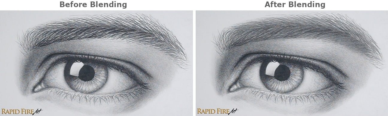 before and after blending eyebrow drawing