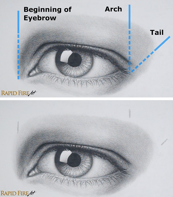 Eyebrow drawing placement