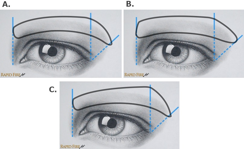 How to draw different eyebrow shapes male